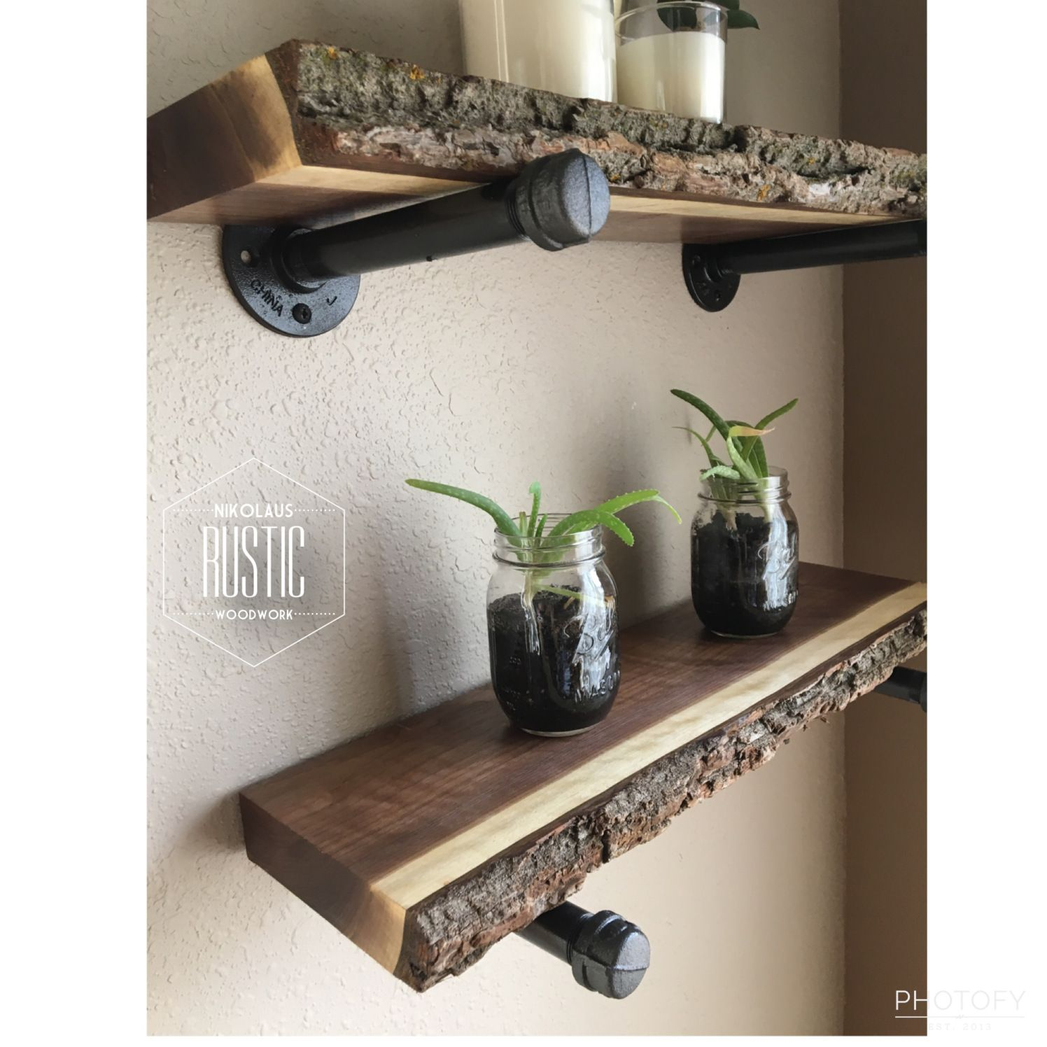 Home Decor Live Edge Shelves Walnut