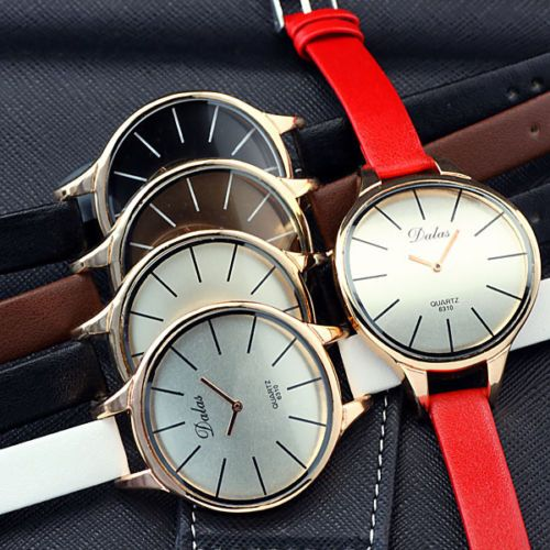Multi-Colors Big Unique Face Small Band Women Lady Casual Wrist Watch Watches