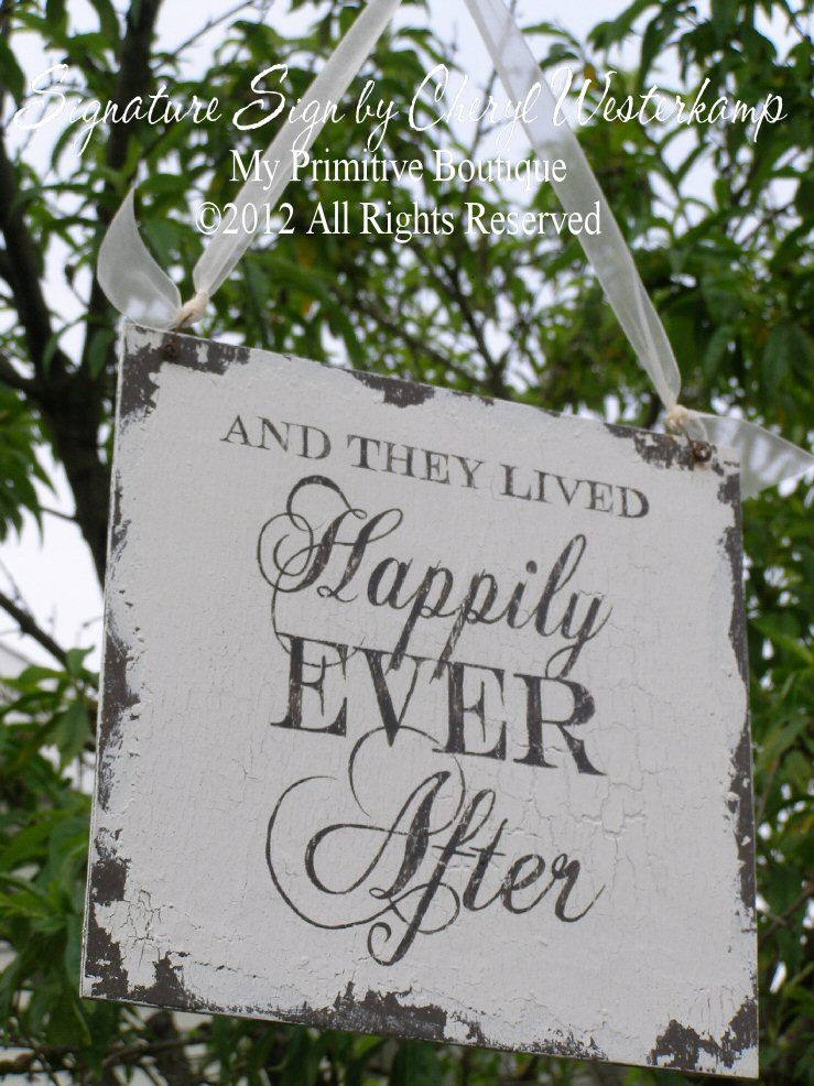 And They Lived Hily Ever After Sign Shabby Chic Vintage Wedding
