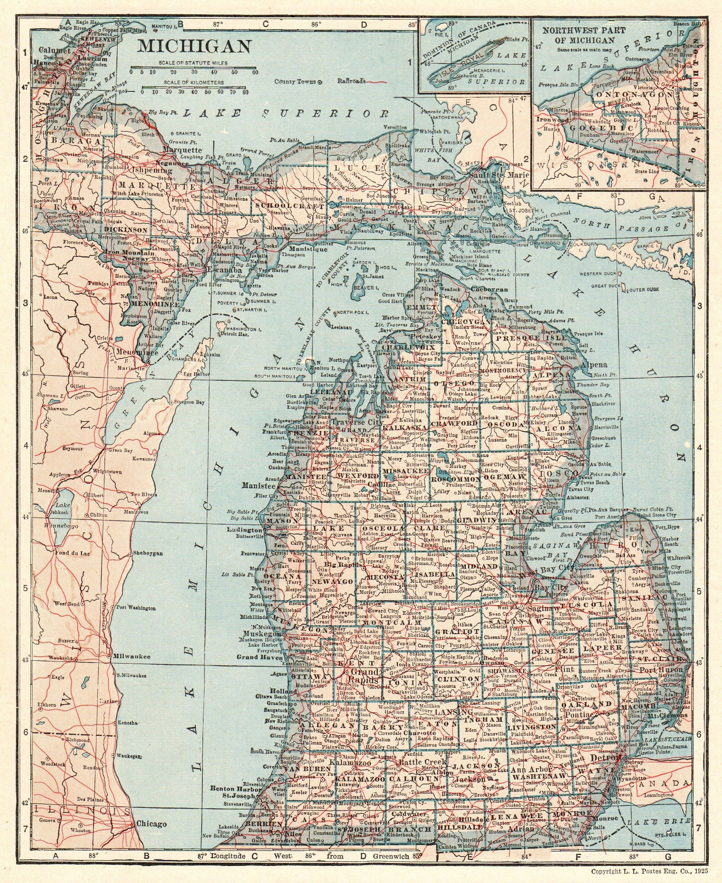 Map Antique Of Michigan State