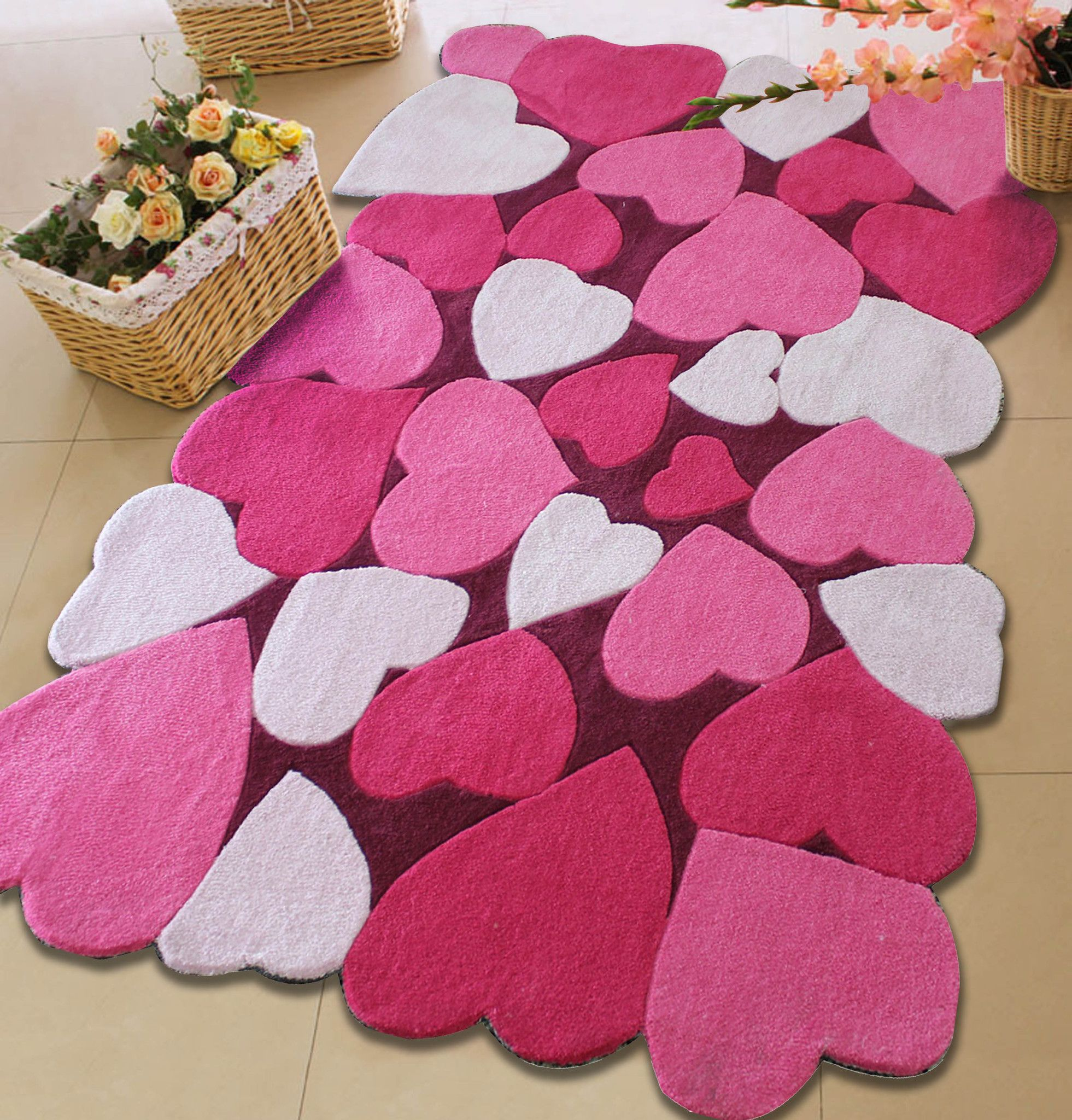 Kids All Pink Bedroom Area Rug With Hearts Patterns