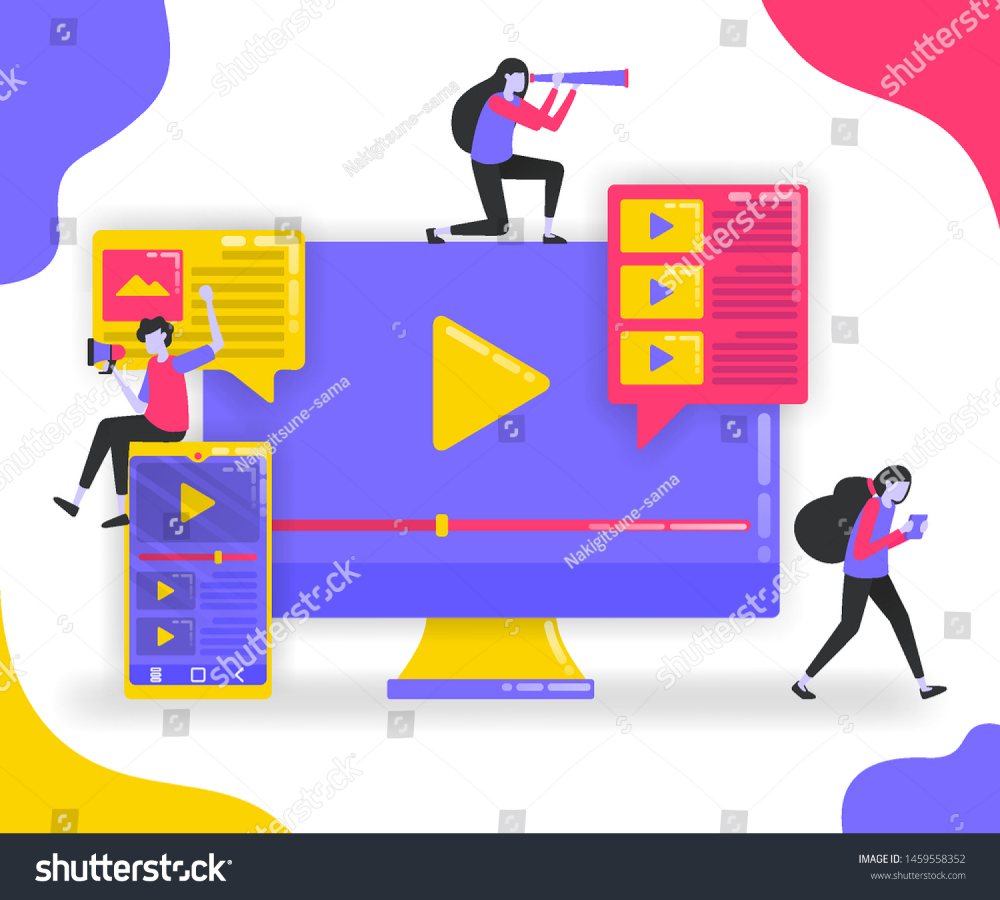 Illustration of play button and playlist Monitor and smartphone with suscribe video influencers looking for followers with video platform flat vector concept for Landing...