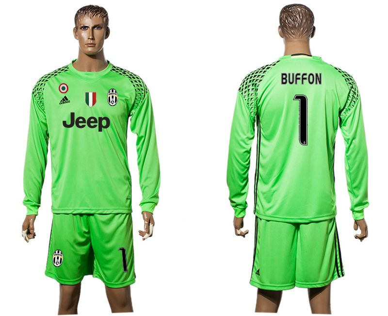 a8080cc2f34 16-17 Juventus goalie long sleeve green soccer jersey goalkeeper football  jerseys man uniform men uniforms cheap kits replica kit