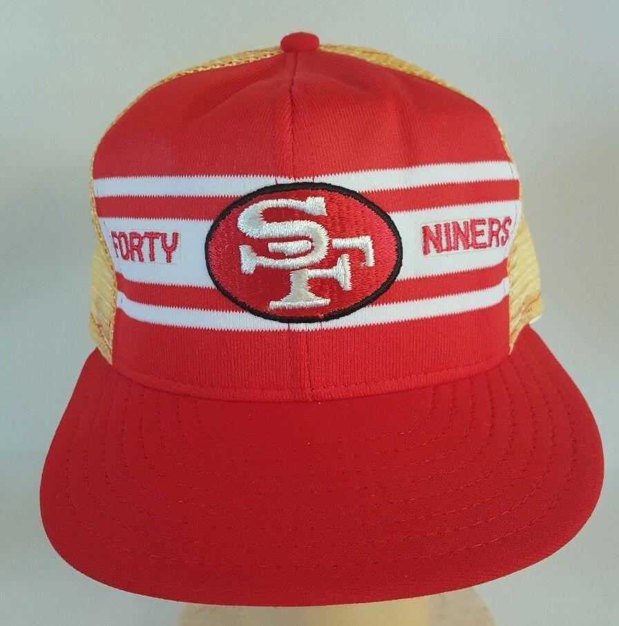 0fdc6811779db San Francisco 49ers Vintage Deadstock AJD Super Stripe Mesh Snapback Hat  Made US  AJD  SanFrancisco49ers