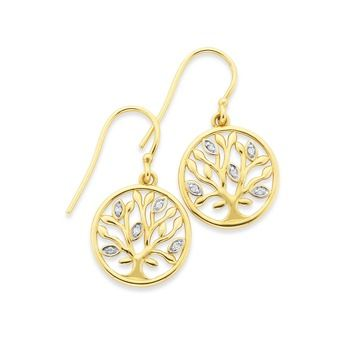 9ct Gold Diamond Tree Of Life Earrings Prouds