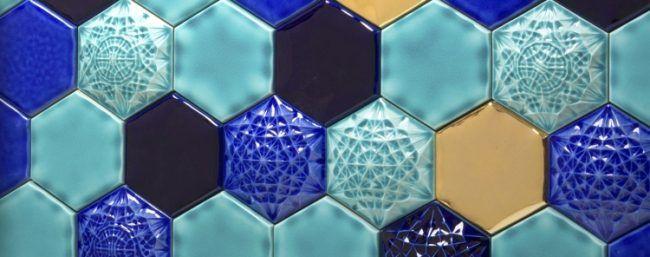 Mosaik Fliesen Badezimmer Waben Muster Glasiert Blau Gold
