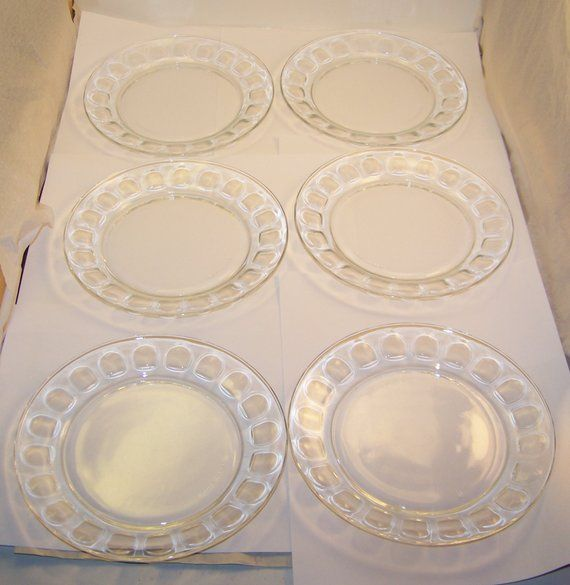 Set of 6 Arcoroc France Clear Glass Thumbprint Plates FREE