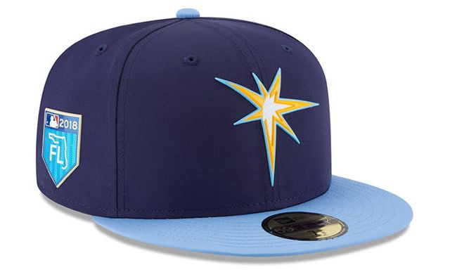 762f0f5694b Men s Tampa Bay Rays New Era Navy 2018 Spring Training Collection Prolight 59FIFTY  Fitted Hat