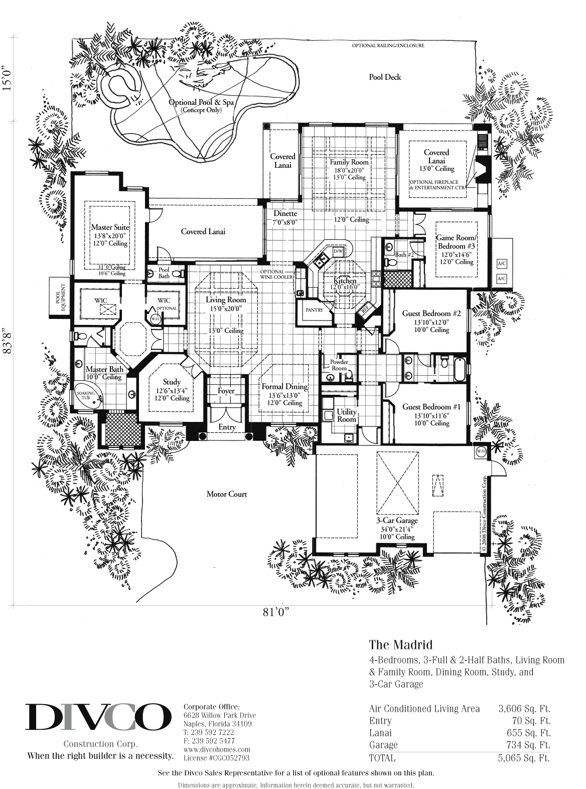 Luxury Home Floor Plans Madrid Floorplan Floorplan Of A Luxury Home By Divco Construction Naples Florida Luxury Floor Plans Floor Plan Layout Floor Plans