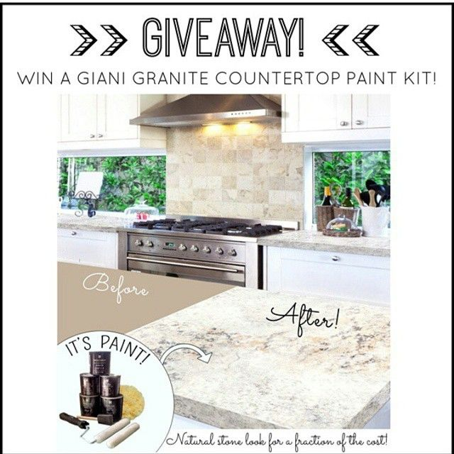 #happyfriday IT'S GIVEAWAY TIME! Win a Giani countertop makeover kit of your choosing! You have the opportunity to enter 3 times! Copy & paste this link in your browser for your chance to win: fb.me/7l4oU7VzG  #giveaway #win #free #share #sweepstakes #deal #home #diy #homeimprovement #homedecor #interiordesign #paint #remodel #upcycle #instagood #kitchen #beforeandafter #makeover #followfriday #instahome