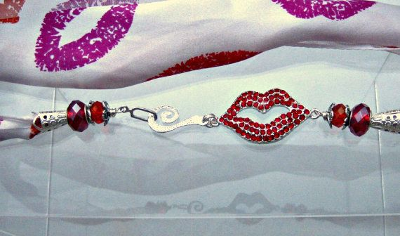 Red Rhinestone Lips Scarf Necklace by blingbychristine on Etsy, $25.00