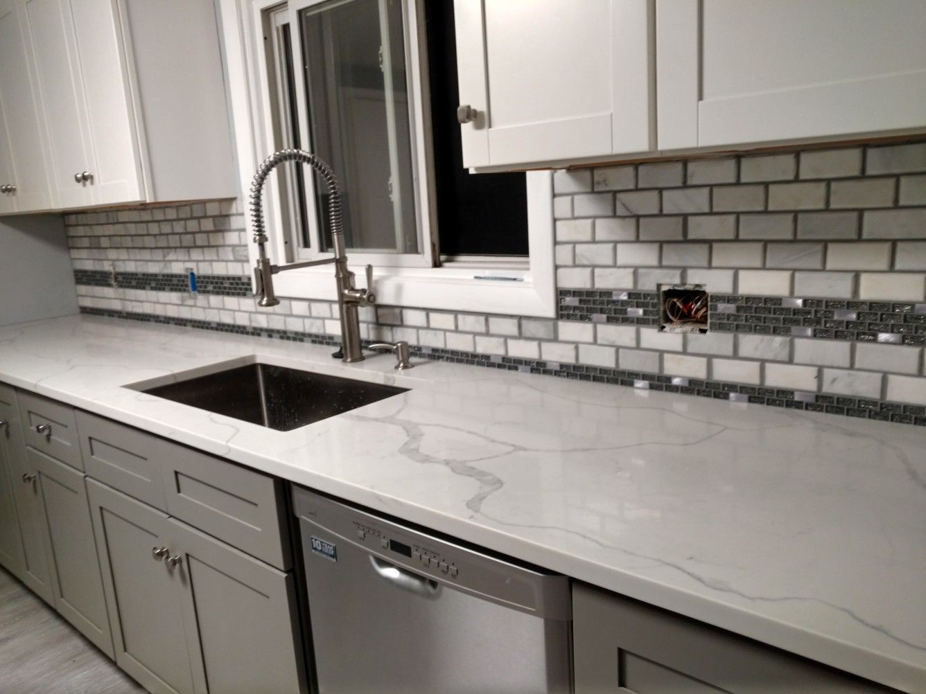 - Grecian White Marble Subway Tile Backsplash Kitchen Remodel