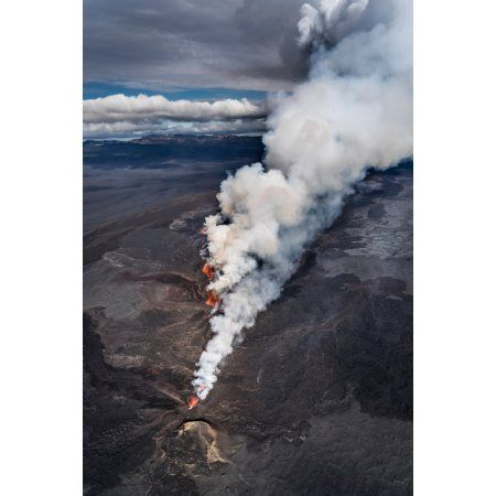 Lava and plumes from the Holuhraun Fissure by the Bardarbunga Volcano Iceland Sept 1 2014 Canvas Art - Panoramic Images (36 x 12)