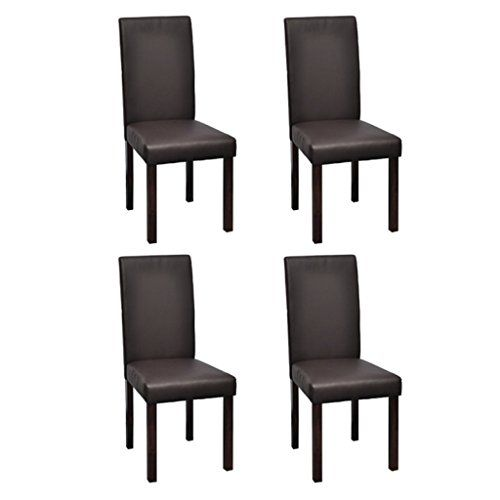 4 x sillas de comedor superficie de cuero color marrón vi https