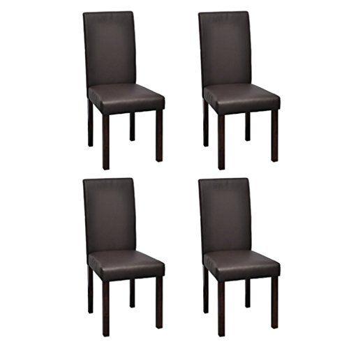 4 x sillas de comedor superficie de cuero color marrón vi https