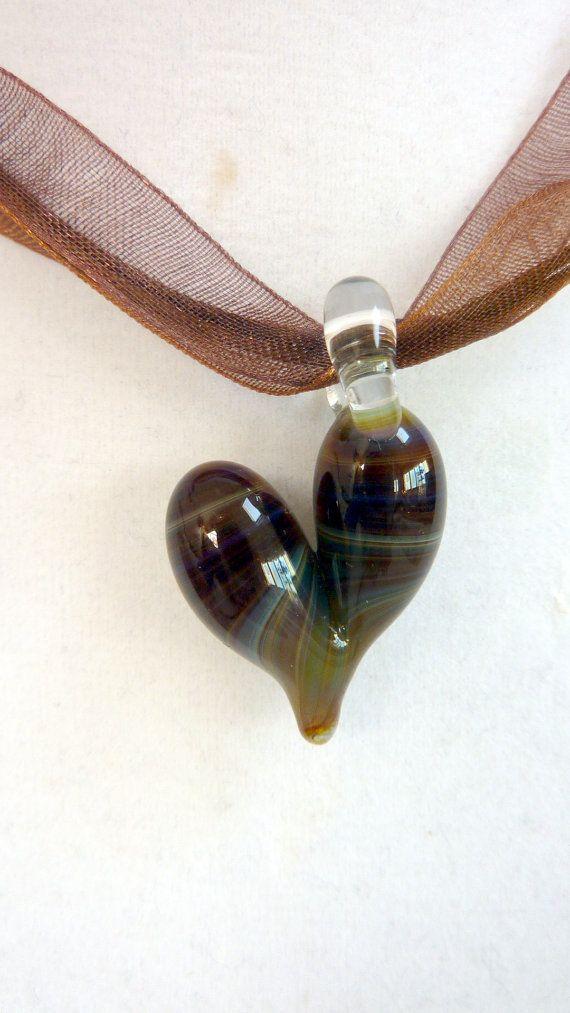 Plum Green Heart Pendant Brown Purple Green by Elegencebyelaine, $25.00