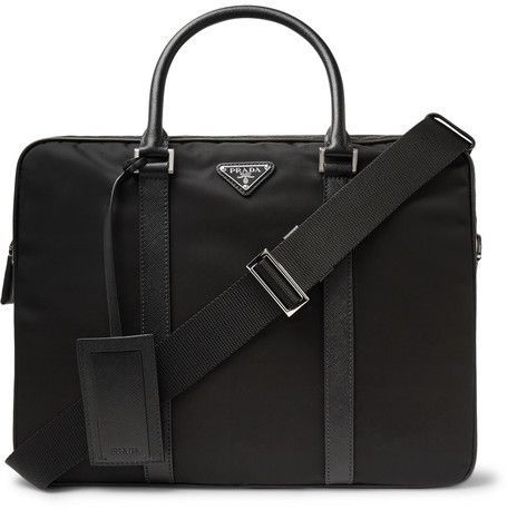 f077e6f698e6 Prada Saffiano Leather-Trimmed Nylon Briefcase | Men bags