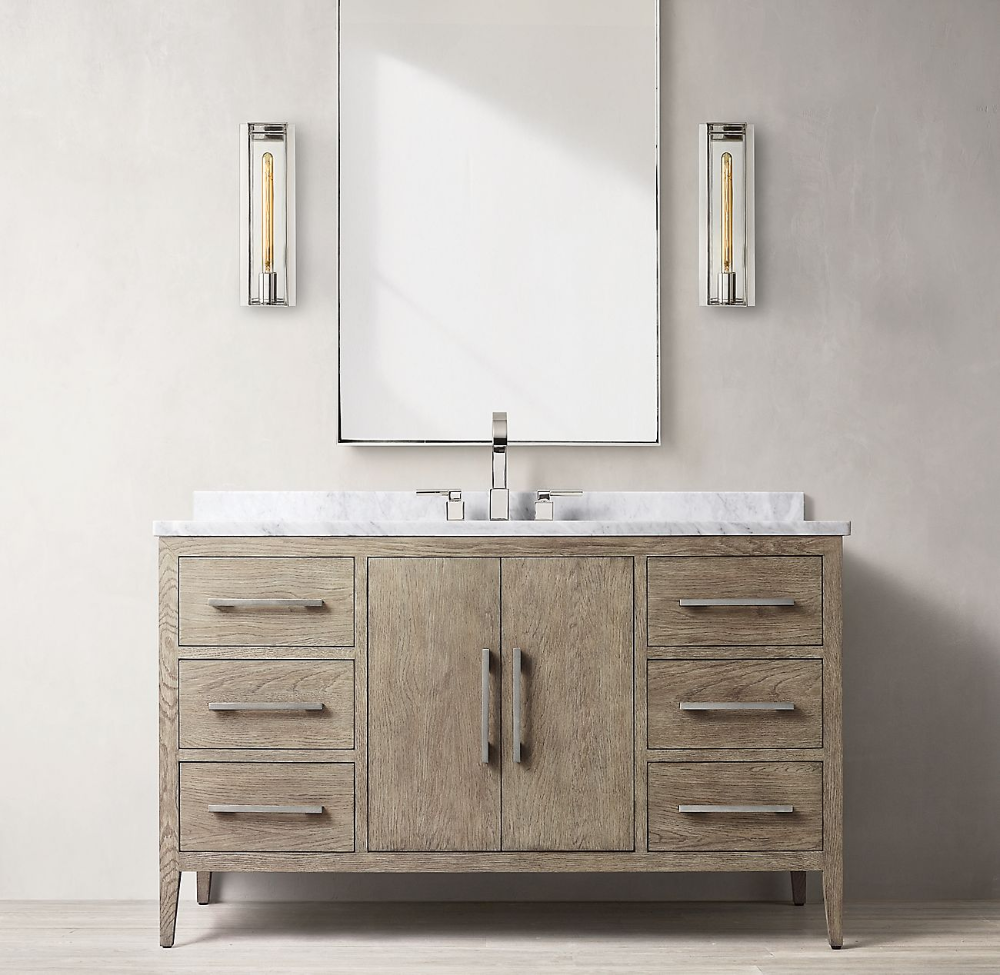 French Contemporary Single Extra Wide Vanity Vanity