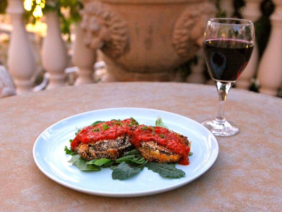 Baked Eggplant Sandwich 2 (no link): Baked eggplant sandwiches with provolone, roasted peppers, portobellos, harissa marinara and a lovely glass of vino.