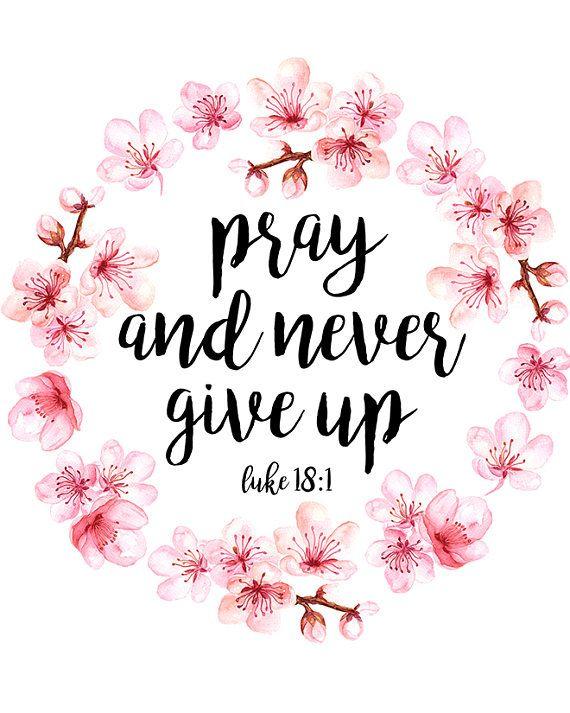 Bible Verse Print Luke 18:1 Printable Pink Cherry
