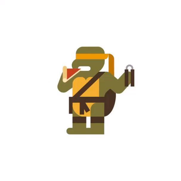 55 ic nes embl matiques de la pop culture revisit es travers des illustrations minimalistes - Tortue ninja orange ...
