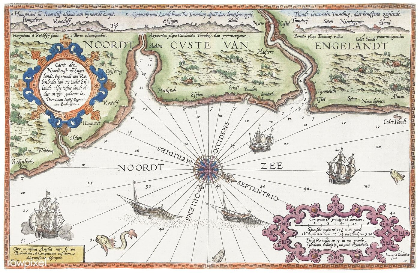 Kaart Van De Noordkust Van Engeland Bij Newcastle Upon Tyne