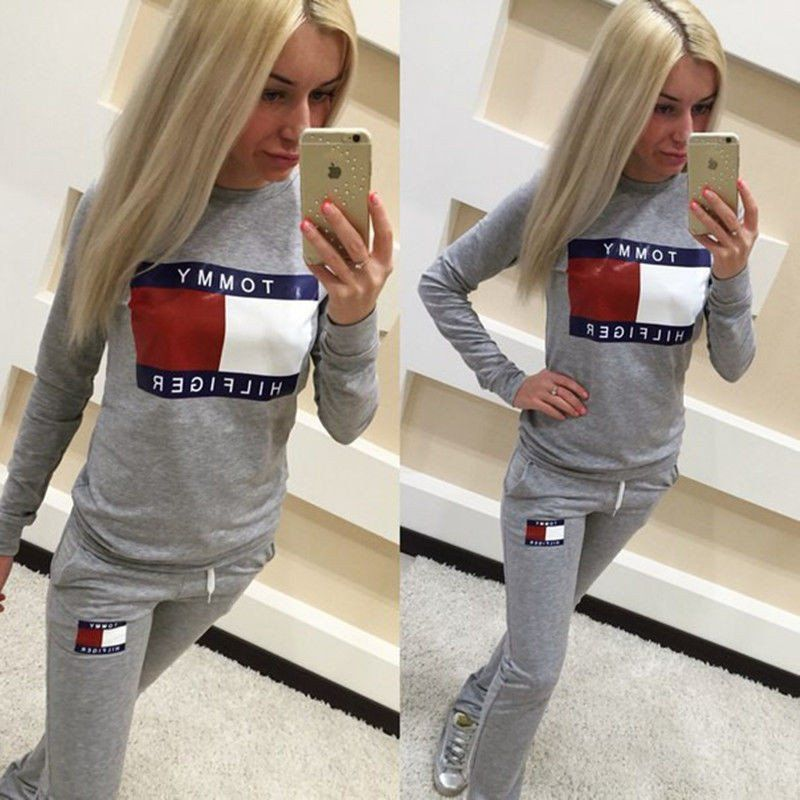 Full Tracksuit Womens Jogger Track Pants And Sweatshirt Jogging Suits Top And Bottom Tommy Hilfiger Tracksuit Women Overalls Women Full Tracksuit