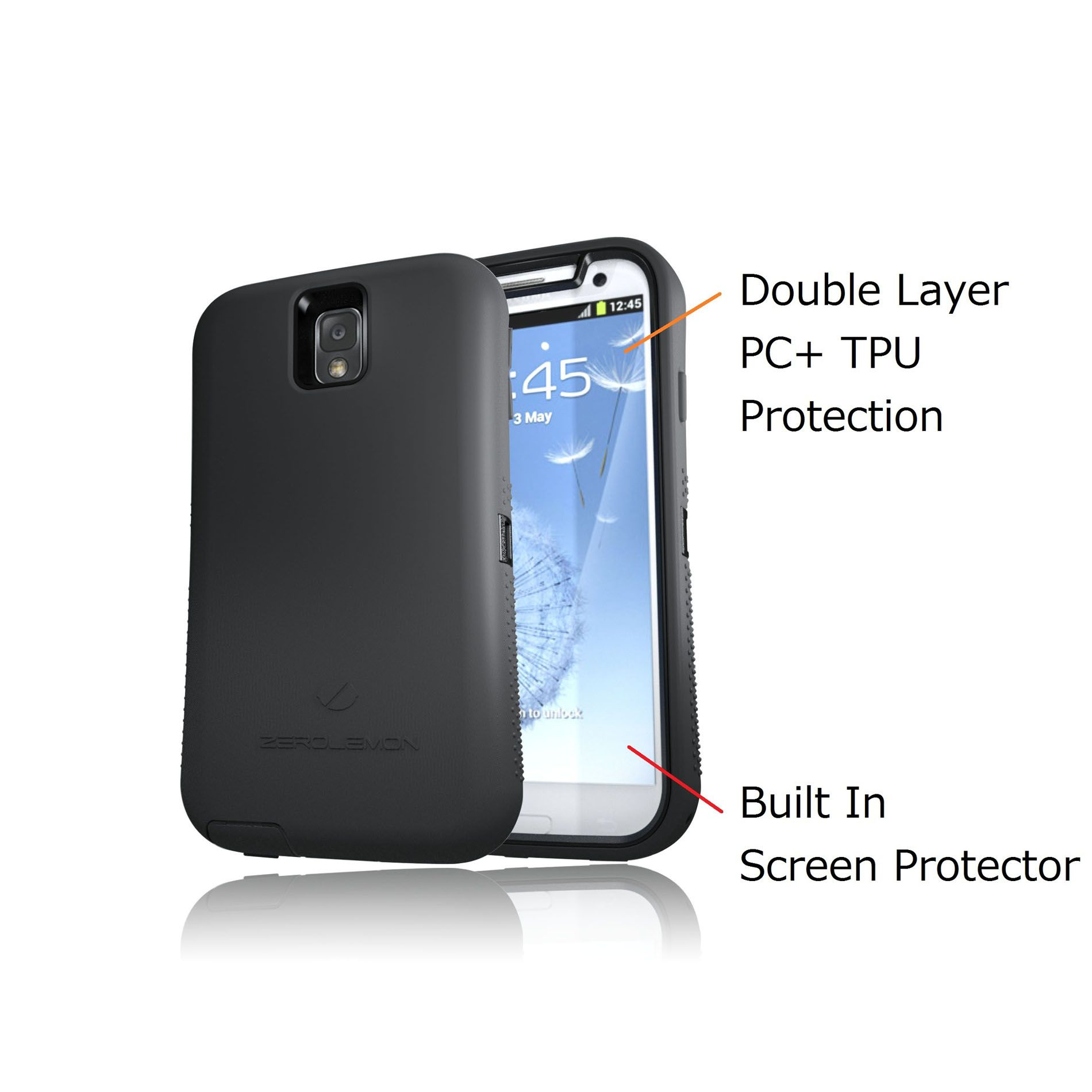 ZeroLemon ZeroShock Black/Black Dual Layer Rugged Case + Screen Protector + Holster/Kickstand for Galaxy Note 3