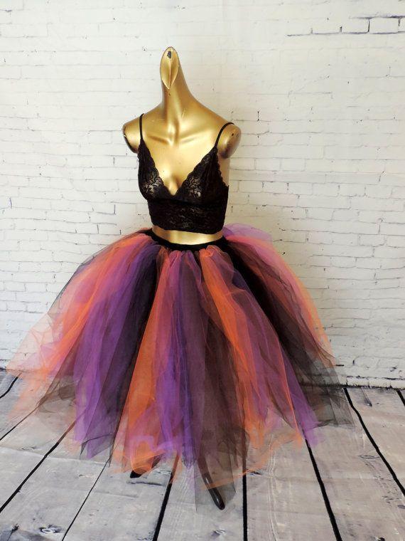 Adult Tutu Tulle Skirt Sexy Costume For Women Orange Black Purple Halloween Tea Length