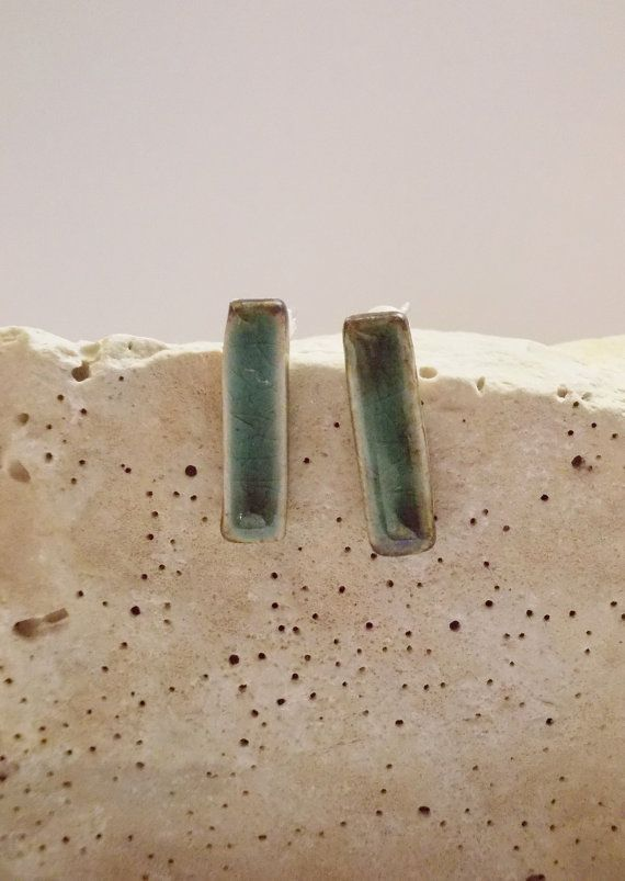 Long bar ceramic earrings//Porcelain earrings// by CherishCeramics