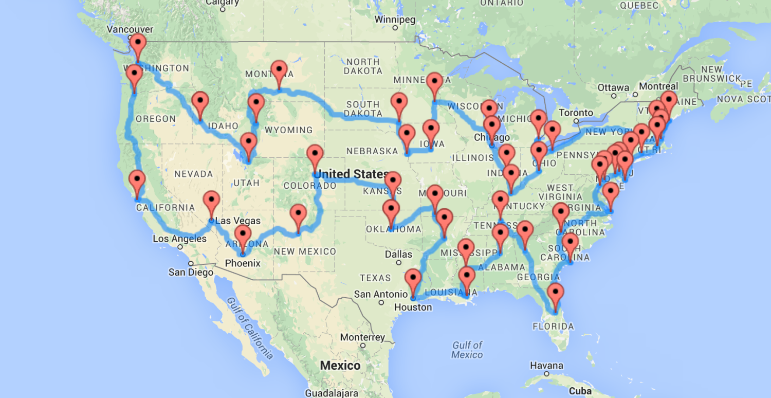 A Map Of The Optimal United States Road Trip That Hits Landmarks - Create Your Own Us Map