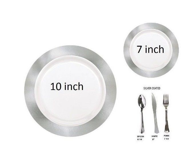 Bulk Platinum BroadRim wedding Dinner party disposable plastic plates silverware #Unbranded #Anniversaryweddingpartydinner  sc 1 st  Pinterest & Bulk Platinum BroadRim wedding Dinner party disposable plastic ...