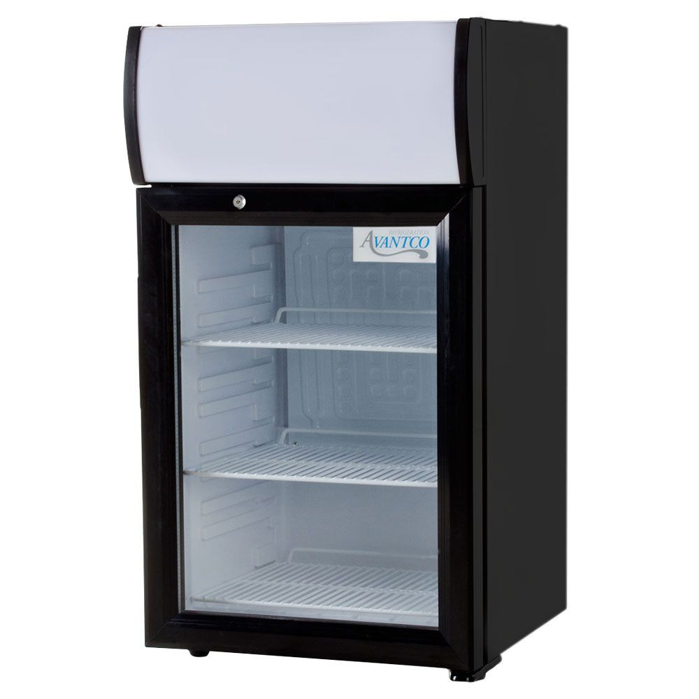 Avantco Sc 40 Black Countertop Display Refrigerator With Swing