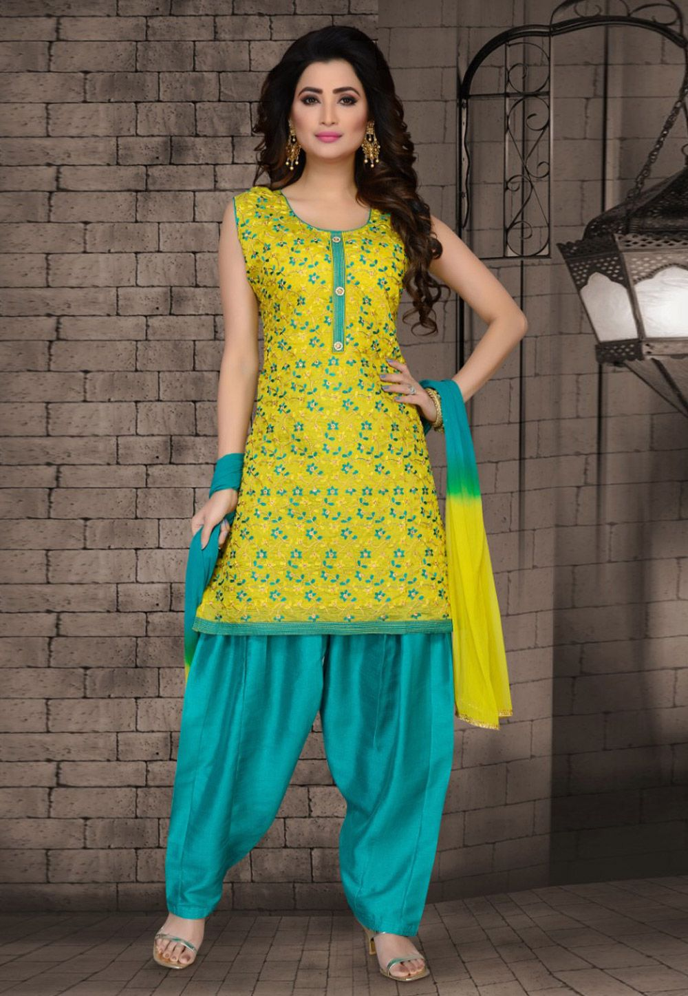 0321ab6f4c Buy Green Chanderi Silk Readymade Punjabi Suit 162433 online at lowest  price from huge collection of salwar kameez at Indianclothstore.com.