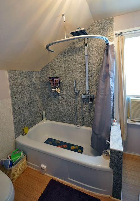 Ikea Kvartal Curtain In 2020: Kvartal Shower Curtain For Dormered Bathroom