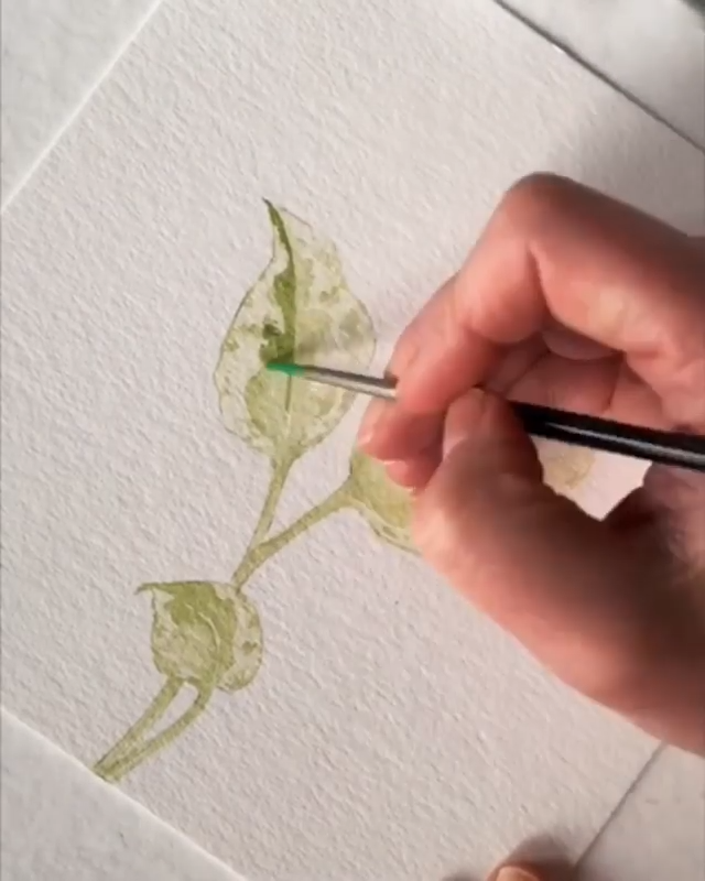 Satisfying Leaf Painting with Watercolors #sketchart