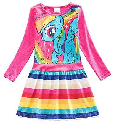 c735bccfcd356 Amazon.com: Lemonbaby My Little Pony Dress Colorful Striped Cartoon ...