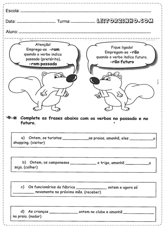 Complete As Frases Com Os Verbos No Passado E No Futuro Lp
