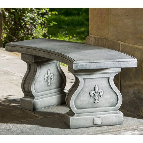 Campania International Fleur De Lys Curved Cast Stone Backless Garden Bench  | From Hayneedle