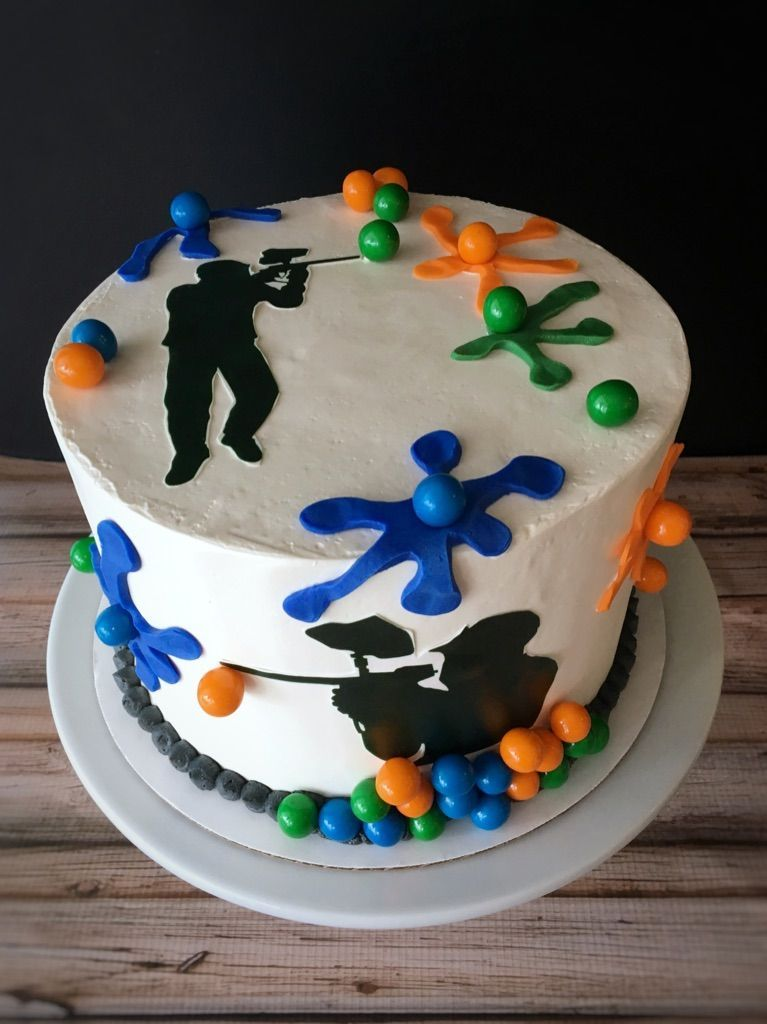 Marvelous Paintball Cake Paintball Birthday Cake Paintball Party Birthday Cards Printable Giouspongecafe Filternl