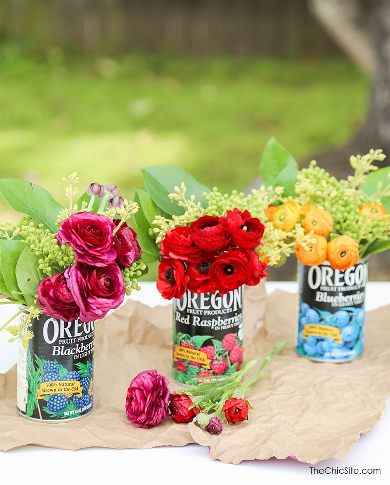 Use recycled fruit cans to create vibrant