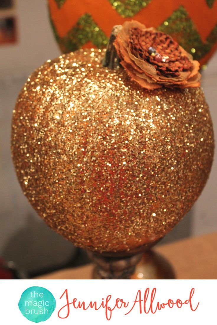 Ideas : Gorgeous Gold Glittered Pumpkin on a candlestick as fall decor. How to make Glitter Pumpkins easy tricks by theMagicBrushinc.com Cute pumpkin decorating ideas. #pumpkin #pumpkineverything #fall #falldecor #homedecor #glitter #diy #diyhomedecor #howto