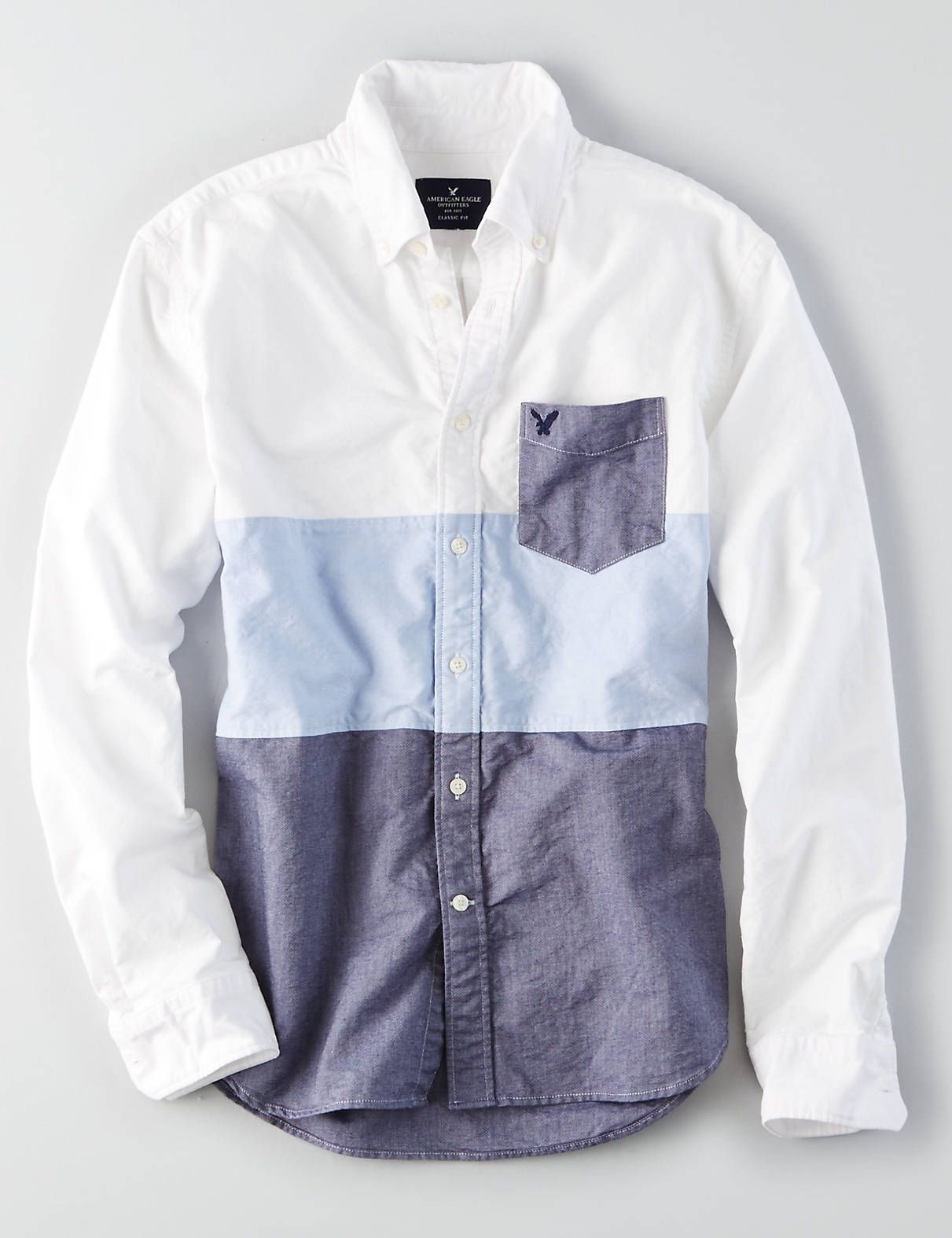 AEO Colorblock Short Sleeve Oxford Shirt | American eagle ...