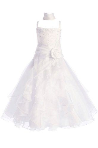 Amj Dresses Inc Girls White Flower Girl Formal Dress Size 6 Amj