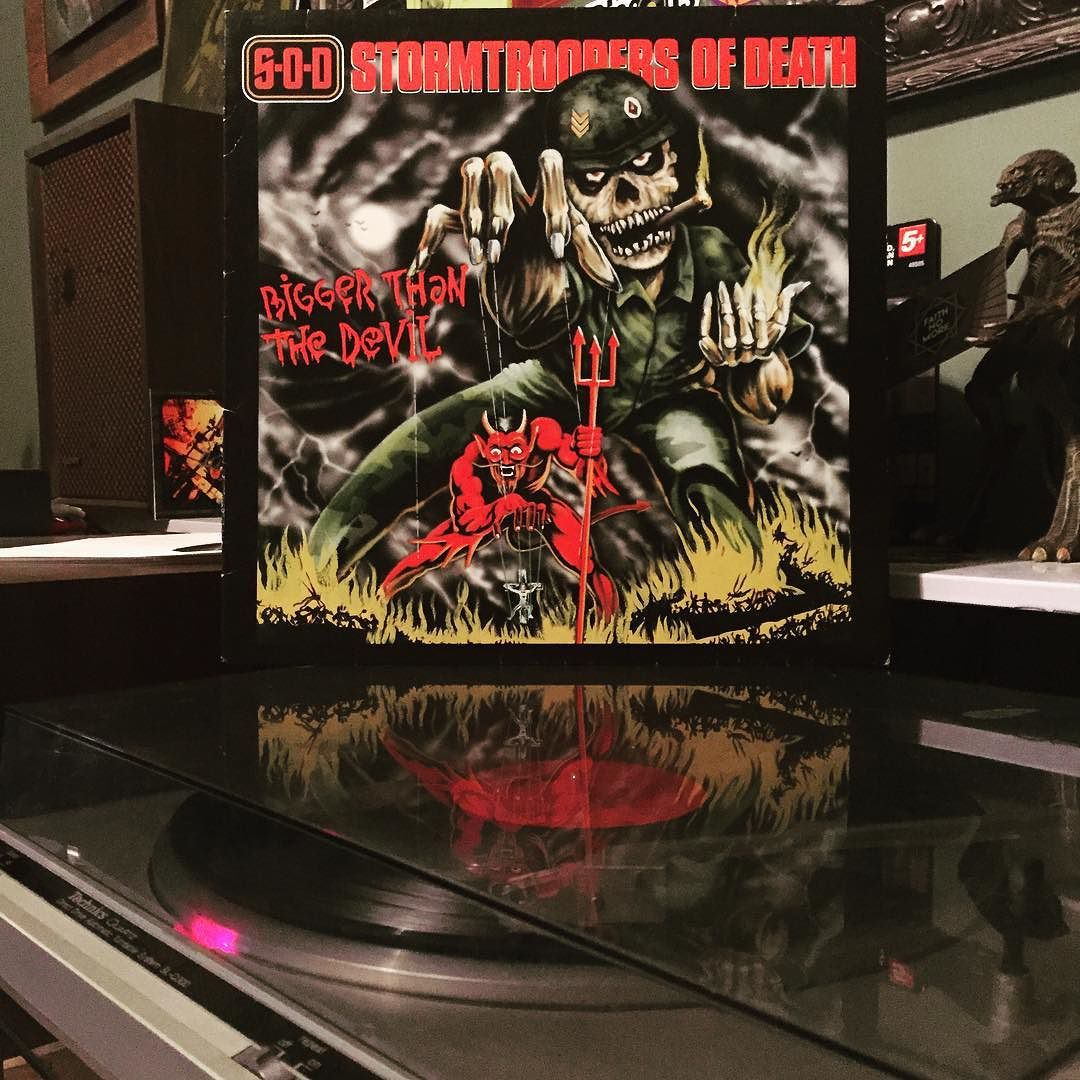 """""""Kill the Assholes""""  S.O.D Stormtroopers of Death - """"Bigger Than the Devil""""  #sod #stormtroopersofdeath #metal #hardcore #crossover #vinyl #nowspinning by jbeter"""