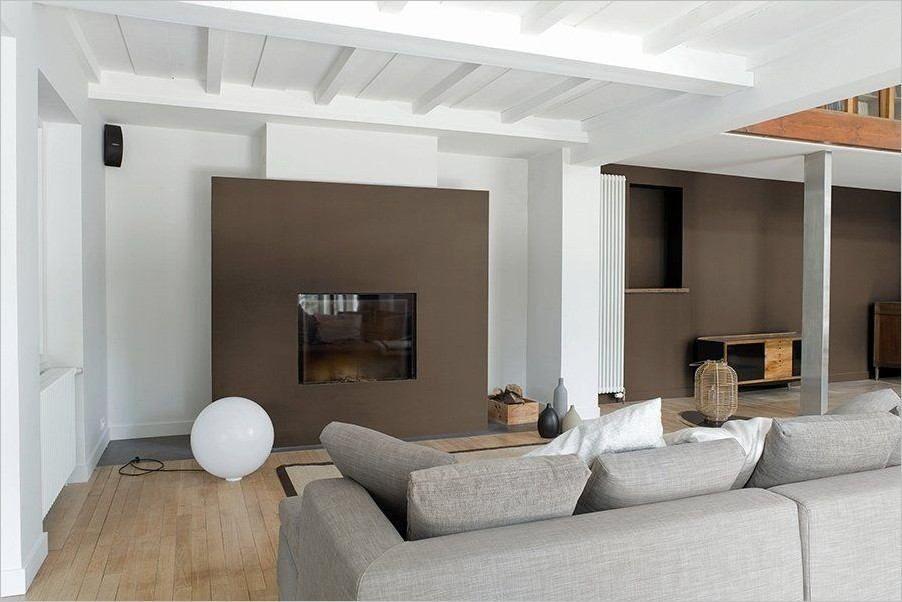 Tv Cheminee Rustique Salon Salle A Manger Deco Couleur Mur Salon