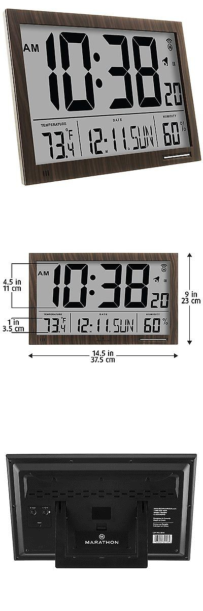 wall clocks marathon cl030062wd slimjumbo atomic digital wall clock u003e buy