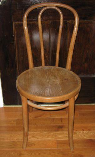 Vintage Kohn Mundus Bentwood Chair 34 Back Carved Round Seat As