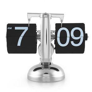 Retro Modern Metal Scale Digital Auto Flip Single Stand Metal Desk Table Clock | eBay