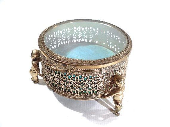 French Ormolu Jewelry Box Gilded Glass Trinket by perfectpatina, $49.00